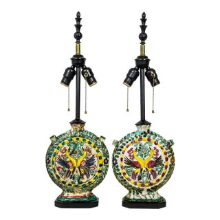 Rustic Italian Majolica Ceramic Wine Cantina Lamps (Pair) For Sale