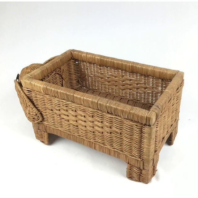 1970s Vintage Wicker Elephant Planter For Sale In Boston - Image 6 of 12