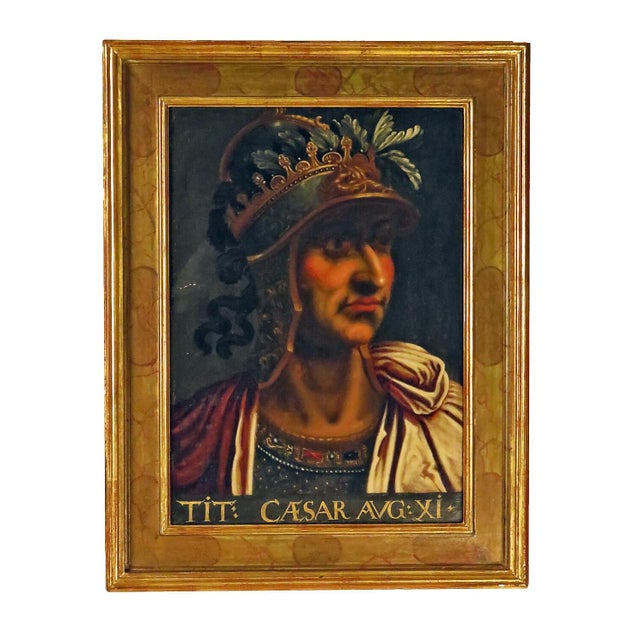 Grand Tour Grand Tour Italian Painting of Caesar on Panel For Sale - Image 3 of 3
