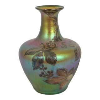 Austrian Iridescent Glass Loetz Att. Vase W/ Silver Overlay by La Pierre C. 1900 For Sale
