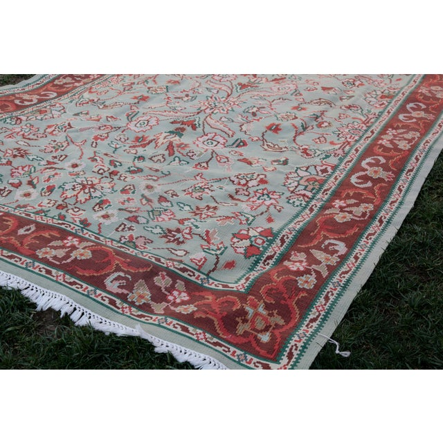 1950s Vintage Floral Wool & Cotton Kilim - 6′8″ × 9′4″ For Sale - Image 11 of 13
