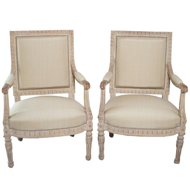 Early 20th Century Pair of Unusual Large Square Back Louis XVI Style Fauteuils For Sale - Image 5 of 5