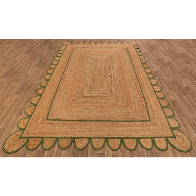 Modern 4'x6' Olive Green Scallop Jute Hand Made Rug For Sale - Image 3 of 10
