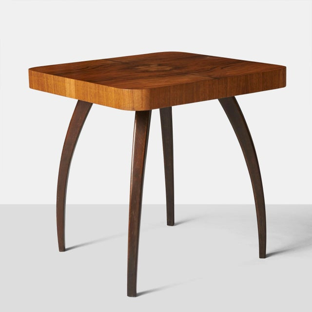"""Jindrich Halabala """"Spider"""" Side Table A square side table with a walnut top and curved legs in beech. Model H259, designed..."""