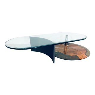 1980s Modern Saporiti Italia Coffee Table With Cantilevered Glass Top For Sale