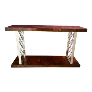 Modern Art Deco Style Universal Co. Burl Wood and Nickel Console Table For Sale
