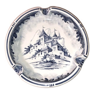 Vintage Italian Ash Tray by Mazzotti Blue and White Italian Hand Painted For Sale