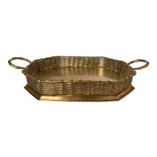 Vintage Brass Basket-Woven Tray For Sale