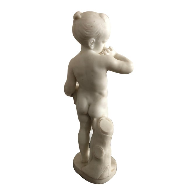 Early 19th Century Charles Antoine-Bridan Marble Child With Bird's Nest Sculpture For Sale - Image 5 of 7