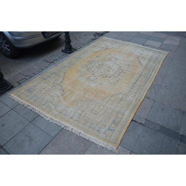 "Turkish Faded Bohemian Turkish Area Carpet - 69"" x 110"" For Sale - Image 3 of 7"