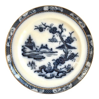 19th Century Antique Flow Blue Chinoiserie Plate For Sale