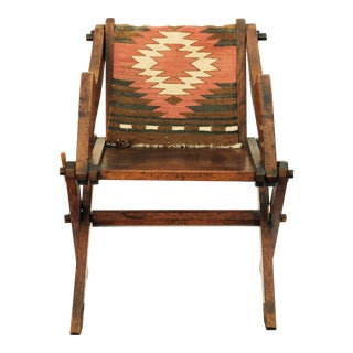 Late 19th Century Vintage Navajo Inspired Fabric Patinated Oak Arts & Crafts Side Chair For Sale
