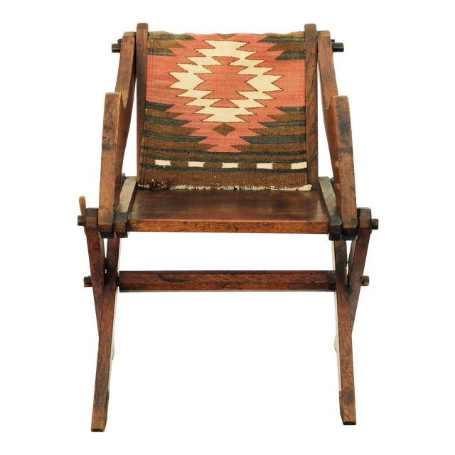 Late 19th Century Vintage Navajo Inspired Fabric Patinated Oak Arts & Crafts  Side Chair For Sale - Superior Late 19th Century Vintage Navajo Inspired Fabric Patinated