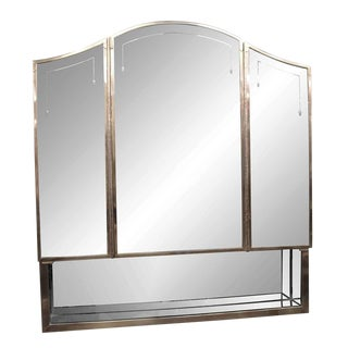 20th Century Art Deco Salvaged Waldorf Triple-Mirror Medicine Cabinet For Sale