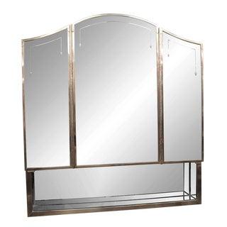 20th Century Art Deco Salvaged Waldorf Triple-Mirror Medicine Cabinet For Sale