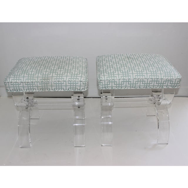 Charles Hollis Jones Hollis Jones Style Lucite U Benches Stools 1940s - Newly Upholstered - a Pair For Sale - Image 4 of 12