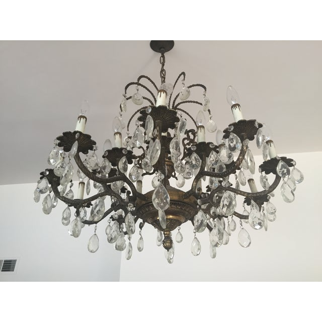 Antique Brass Crystal Chandelier - Image 4 of 5