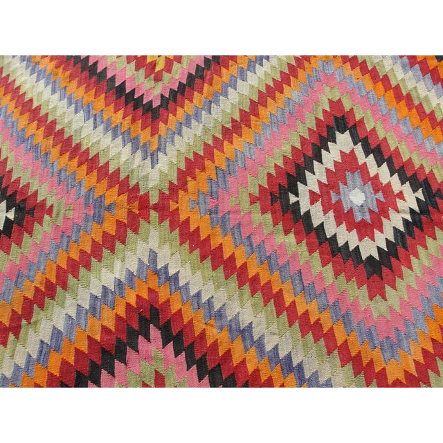 Vintage Turkish Kilim Rug - 5′5″ × 8′7″ For Sale - Image 9 of 11