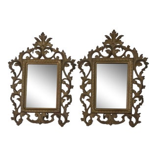 Vintage Rococo Style Golden Metal Mirror/Picture Frames - a Pair For Sale