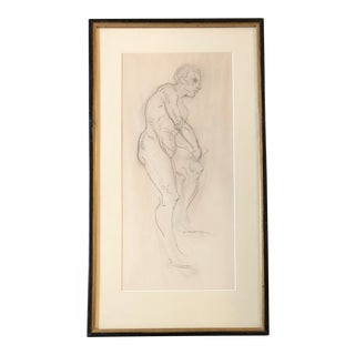 Vintage Original Classical Male Nude Charcoal Study For Sale