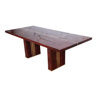 Romeo Rega Italian Burl Wood and Brass Dining Table For Sale