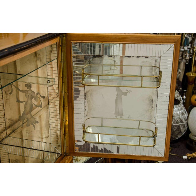 Modernist Italian Mid Century Scenic Mirrored Bar For Sale - Image 4 of 4