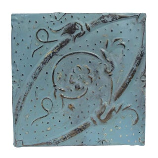 Antique Blue Diagonal Tin Panel For Sale