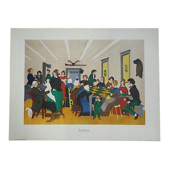 """Antique Lithograph """"Quilting Party"""" For Sale"""