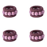 Image of Berry Sisal Napkin Rings in Eggplant and Lilac - Set of 4 For Sale