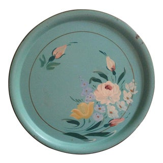 Vintage Turquoise Tole Metal Serving Tray