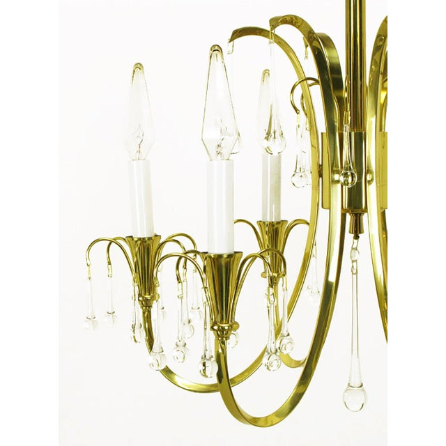 1950s Modernist Brass Chandelier With Raindrop Crystals For Sale - Image 5 of 8
