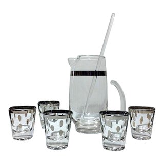 Dorothy Thorpe Silver Dot Shot Glasses and Cocktail Pitcher W/Stirrer - 7 Pc. Set For Sale