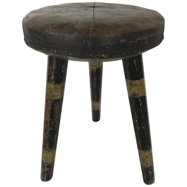 Early 20th Century Vintage Swedish Leather Topped Stool For Sale - Image 12 of 12