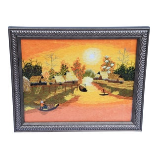 Vintage Crewel Work Asian Village Scene For Sale