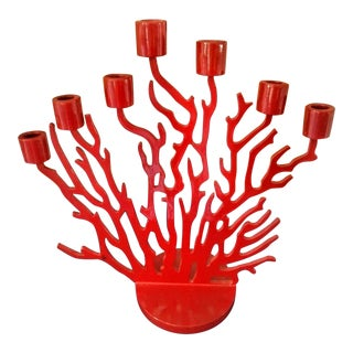 Red Coral Shaped 7 Stick Candelabra Candle Holder For Sale