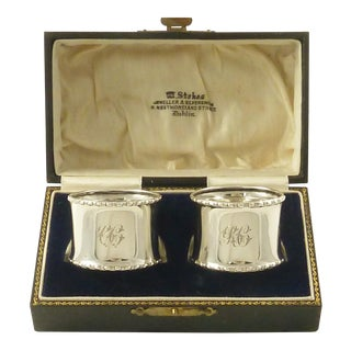 English Sterling Silver Napkin Rings in Antique Boxed - a Pair For Sale
