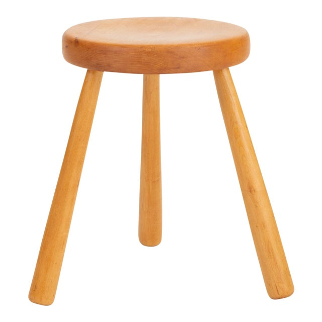 French Rustic Modern Three-Legged Stool in Pine Wood For Sale