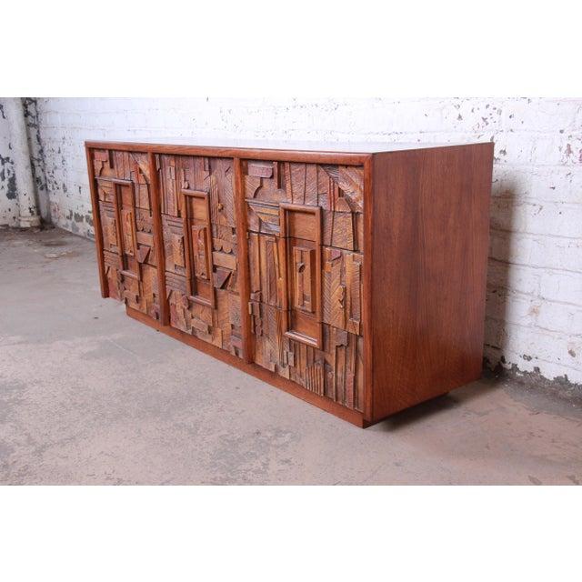 Lane Pueblo Brutalist Mid-Century Modern Oak Long Dresser or Credenza, 1970s For Sale - Image 13 of 13