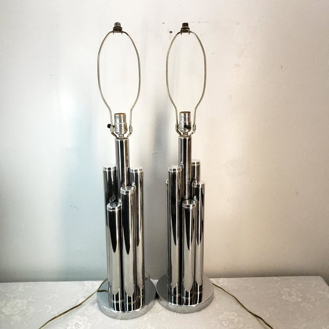 1960s Mid Century Modern Chrome Table Lamp Cylinder Sculptural - a Pair For Sale - Image 9 of 9