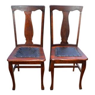 Antique Victorian Arts & Crafts Mission Oak Rossell Brothers Chairs - a Pair For Sale