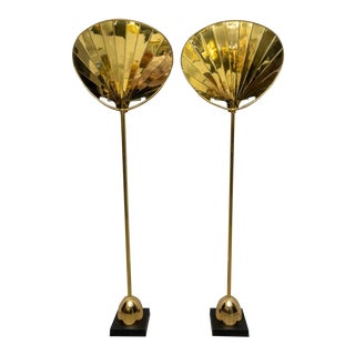 Chapman Brass Palm Frond Floor Lamps - a Pair For Sale