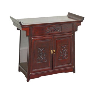Chinese Rosewood Altar Style Pagoda Top Console Cabinet