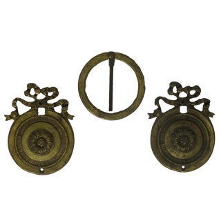 Antique French Bronze Doré Decorative Mounts, Set of 3