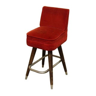 Mid-Century Modern Red Velvet Bar Stools - a Pair Preview
