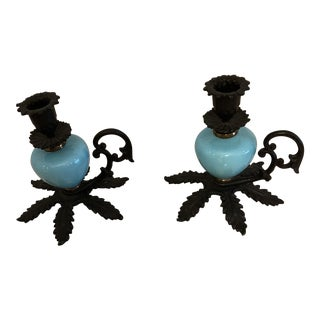 Milk Blue Glass and Black Iron Candlestick Holders - a Pair For Sale