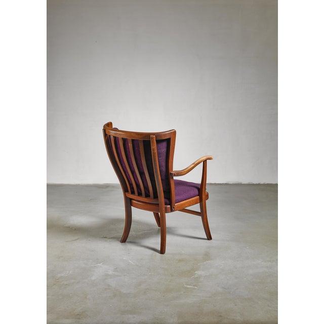 Mid-Century Modern Elegant Danish Wingback Armchair with Warm Deep Purple Cushions For Sale - Image 3 of 5