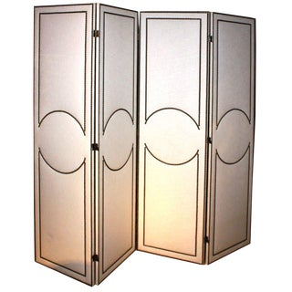 Art-Deco Style Custom 4-Panel Screen For Sale