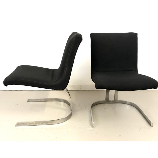 Pair of Cantilevered Scimitar Base Chairs For Sale - Image 4 of 8
