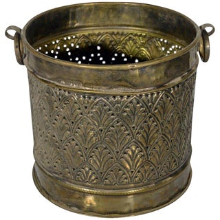 Vintage Hand-Hammered Indian Copper Planter with Palm, Early 20th Century For Sale
