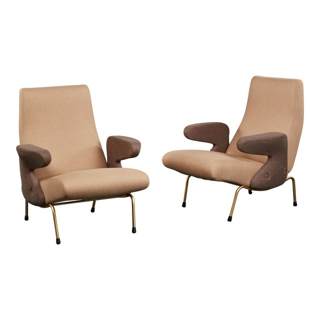 """Pair of """"Delfino"""" Armchairs by Erberto Carboni Manufactured by Arflex For Sale"""